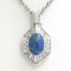 Platinum 900 850 Necklace Opal 2.48 Diamond About12.1g Free Shipping Used