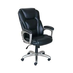 Office Chair Big And Tall Bonded Leather Memory Foam 5 Caster Wheels Black