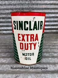 Full - 1950's Sinclair Extra Duty Motor Oil Can 1 Qt. - Gas And Oil