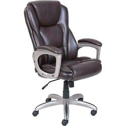 Office Chair Big And Tall Bonded Leather Memory Foam 5 Caster Wheels Brown