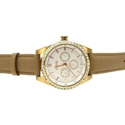 Fossil Womenand039s Tan Crystal Bezel Leather Strap Watch 38mm 3119