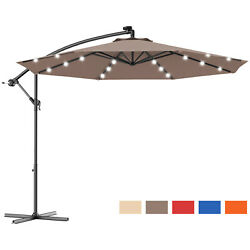 10and039 Hanging Solar Led Umbrella Patio Sun Shade Offset Market W/base Tan