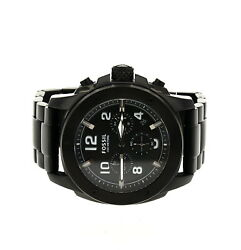 Fossil Menand039s Machine Chronograph Black Stainless Steel Bracelet Watch 3192
