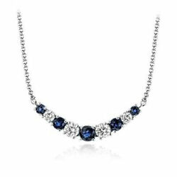 Diamond And Sapphire Curved Bar Necklace 14 Karat White Gold By Zeghani