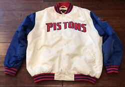 Vintage Nba Fusion Detroit Pistons Spell Out White Blue Red Satin Jacket L Rare