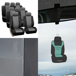 Gray Black Leather Seat Split Covers 8 Seaters 3row Suv W/ Free Air Freshener
