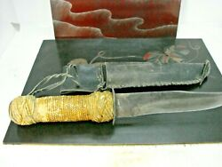 Ww2 Trench Art Combat Knife Shell Casing Braided Cord Handle Leather Scabbard Hm