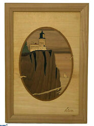 Vintage Hudson River Marquetry Wood Inlay Picture Split Rock Lighthouse Nelson