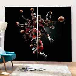 Classic Basketball Game Clips Printing 3d Blockout Curtains Fabric Window