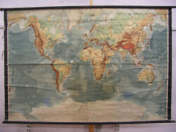 Wall Map Physical World Map Earth Germany1935 Produced 212x140 Vintage
