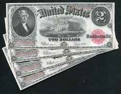 Cut Sheet Of 4 Consecutive Fr. 60 1917 2 Legal Tender United States Notes Unc