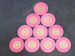 Lot Of Ten 10 Paulson Pink Starburst Casino Poker Chips - Top Hat And Cane