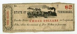 1863 3 George Rumsey - Chattanooga Tennessee Merchant Scrip W/ Train - Rare