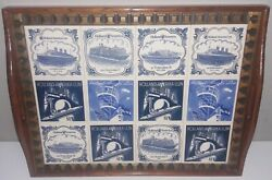 Amazing Holland America Cruise Line Delft Blue Tiles / Wooden Serving Tray Euc
