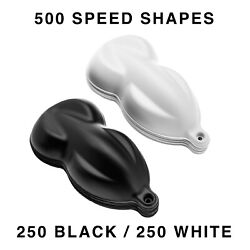 Speed Shapes 250 Black / 250 White Plastic Paint Display Hydrographics- 500 Pack