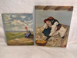 Lot 2 Vintage Oil Paintings European Woman Chickens Girl Dad And Corn Basket Galo