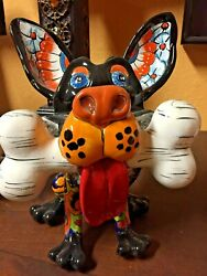 Talavera Mexican Pottery - Animals - Chihuahua With Bone  Free Freight