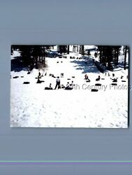 FOUND COLOR PHOTO P8971 VIEW OF PEOPLE PLAYING IN THE SNOW