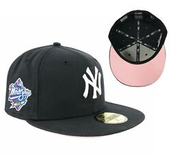 Yankees Navy Blue 1998 World Series Side Patch New Era Fitted Hat Cap Pink UV
