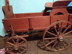 Large Early Childand039s Antique Wooden Wagon Style Goat Buckboard Seat Primitive