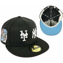 Yankees x Mets Subway Series Side Patch BLACK New Era Fitted Hat Cap ICY UV