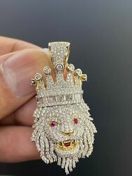 10k Solid Yellow Gold And Si Diamond 3.00 Ct Lion Face Charm With 10k Rope Chain