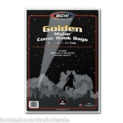 1 Case 250 Bcw Golden Age Comic Book Archival Storage Mylar Bags Sleeves 4 Mil