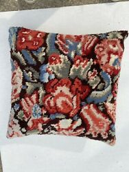 """20"""" Floral Wool 'rug' Pillow Zippered With Corduroy Back."""