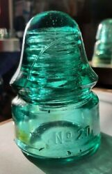 No 20 Cd 133 Aqua With Amber Glass Insulator Sb No Other Embossing