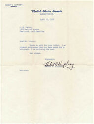 Hubert H. Humphrey - Typed Letter Signed 04/16/1958