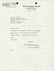 Hubert H. Humphrey - Typed Letter Signed 04/01/1960