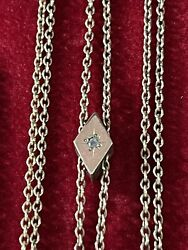 Vintage Antique Gold Filled Watch Chain With Genuine Rose Cut Diamond Slide