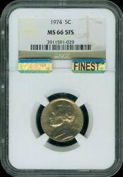 1974-p Jefferson Nickel Ngc And Mac Ms 66 5fs Finest Spotless