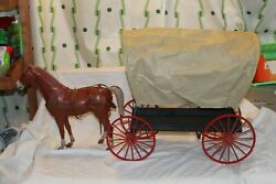 Vintage Louis Marx Company Johnny West Covered Wagon With Horse And Accessories