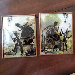 Silhouette Pictures. 4x5. Matched Set. Convex Glass