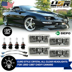 Euro Crystal Clear Low + High Beam Headlight +wiring For 1993-1997 Chevy Camaro