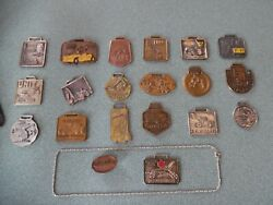 19 Vtg Heavy Construction Equipment Watch Fob Tool .925 Silver Necklace Ww2 Pin