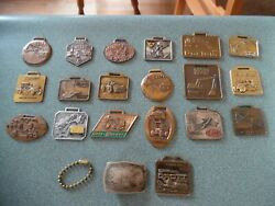 19 Vtg Heavy Construction Equipment Watch Fob Tool Silver Front Buckle Sm Chain