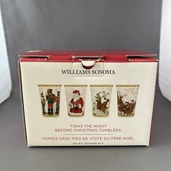 4x Williams Sonoma Twas The Night Before Christmas Mixed Tumblers In Box