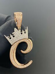 10k Solid Rose Gold And Si Diamond 1.33 Ct Crown Initial C Pendant Charm