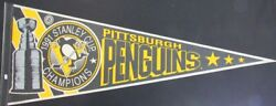 1991 Pittsburgh Penguins Vintage Stanley Cup Champions 12x30 Logo Pennant