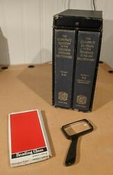 Oxford English Dictionary 1971 Compact Edition + Magnifying Glass Oed 2 Volumes