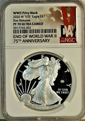 2020 W Ww Ii Privy Mark And039v75and039 American Silver Eagle Pf70ultra First Release