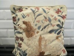 Needlepoint pillow in beige brown#x27;s subject matter quot;Dogquot;