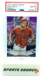 Mike Trout 2019 Topps Tribute Purple Parallel /50 1 Psa 10 Population /1