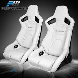 Bucket Racing Seat Adjustable Universal White Puand Carbon Leather Dual Slider X2