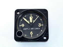 Vintage United Air Lines Wakmann Watch Co. Swiss Aircraft Cockpit 8 Day Clock ✈