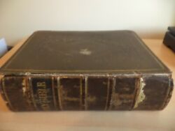 Old Antique Large King James Family Leather Bound Bible Book Oxford Oup 1859