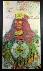 Native American Indian Terrence Guardipee Ledger Drawing Unframed