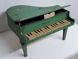 Vintage Schoenhut Child's Or Doll's Toy Wooden Grand Piano - Green